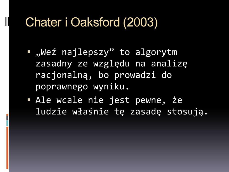 """Chater i Oaksford (2003) """"Weź najlepszy to algorytm zasadny ze względu na analizę racjonalną, bo prowadzi do poprawnego wyniku."""