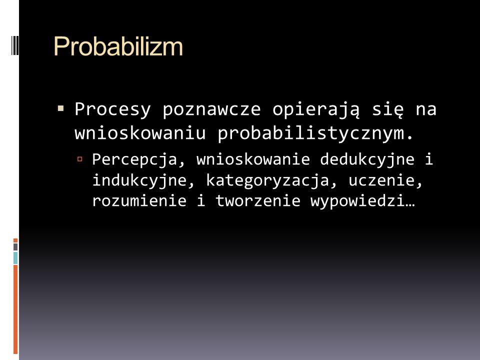 Probabilizm Procesy poznawcze opierają się na wnioskowaniu probabilistycznym.