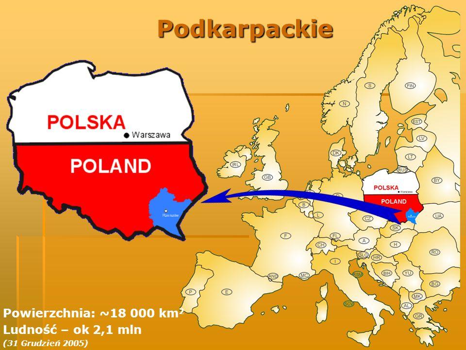 Podkarpackie Powierzchnia: ~18 000 km2 Ludność – ok 2,1 mln