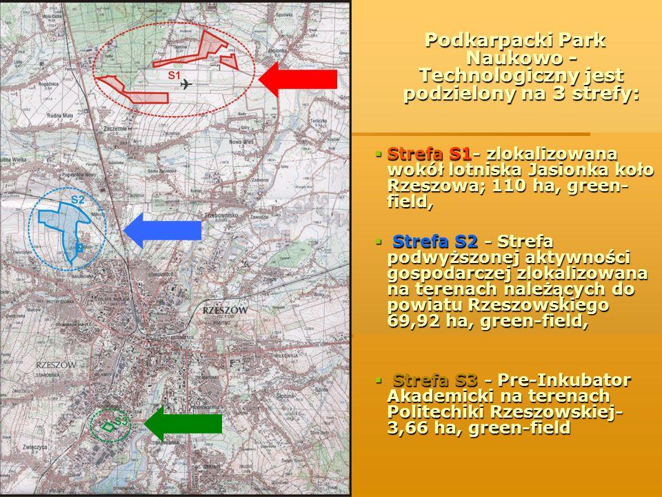 Podkarpacki Park Naukowo - Technologiczny jest podzielony na 3 strefy: