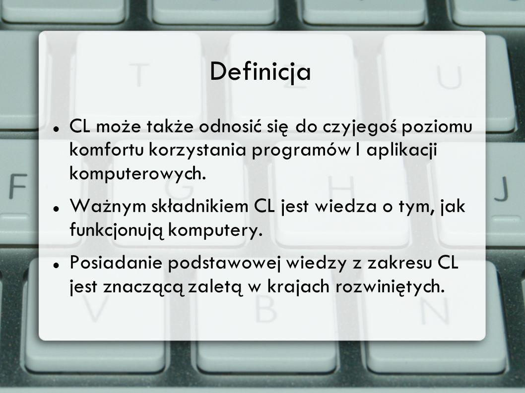 Definicja CL może także odnosić się do czyjegoś poziomu komfortu korzystania programów I aplikacji komputerowych.