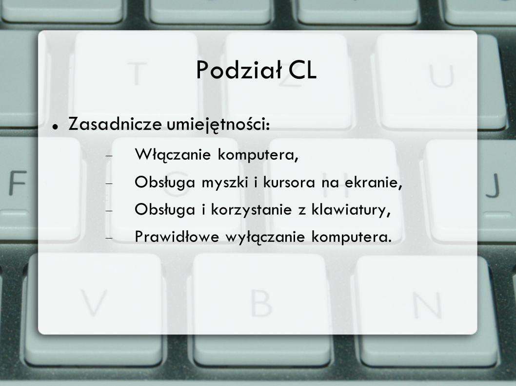 Podział CL Zasadnicze umiejętności: Włączanie komputera,