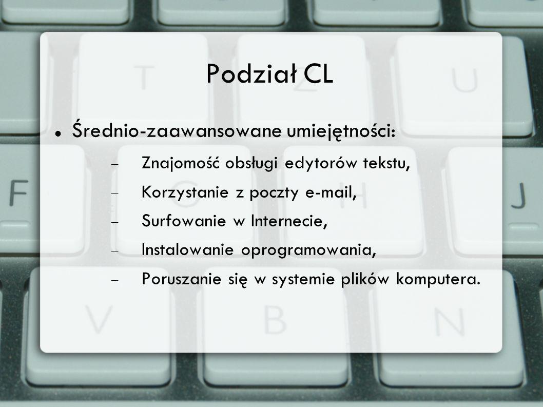 Podział CL Średnio-zaawansowane umiejętności: