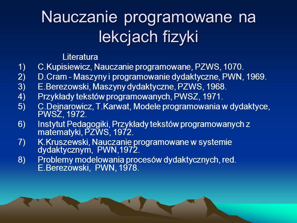 Nauczanie programowane na lekcjach fizyki