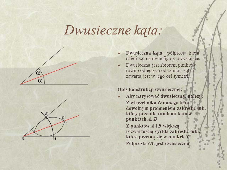 Dwusieczne kąta: Dwusieczna kąta – półprosta, która dzieli kąt na dwie figury przystające.