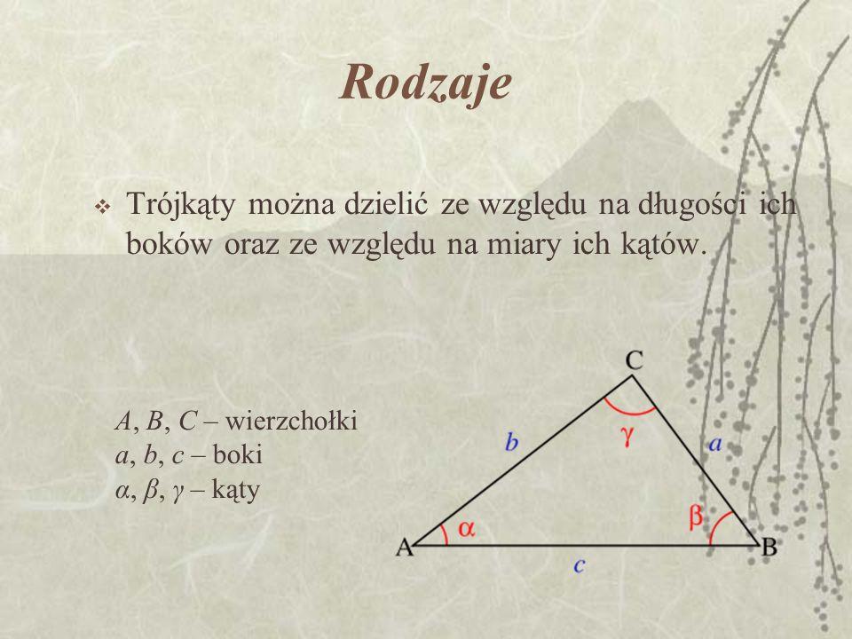 Rodzaje Trójkąty można dzielić ze względu na długości ich boków oraz ze względu na miary ich kątów.
