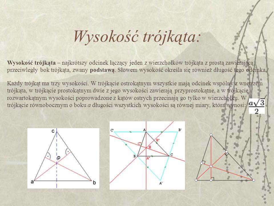 Wysokość trójkąta: