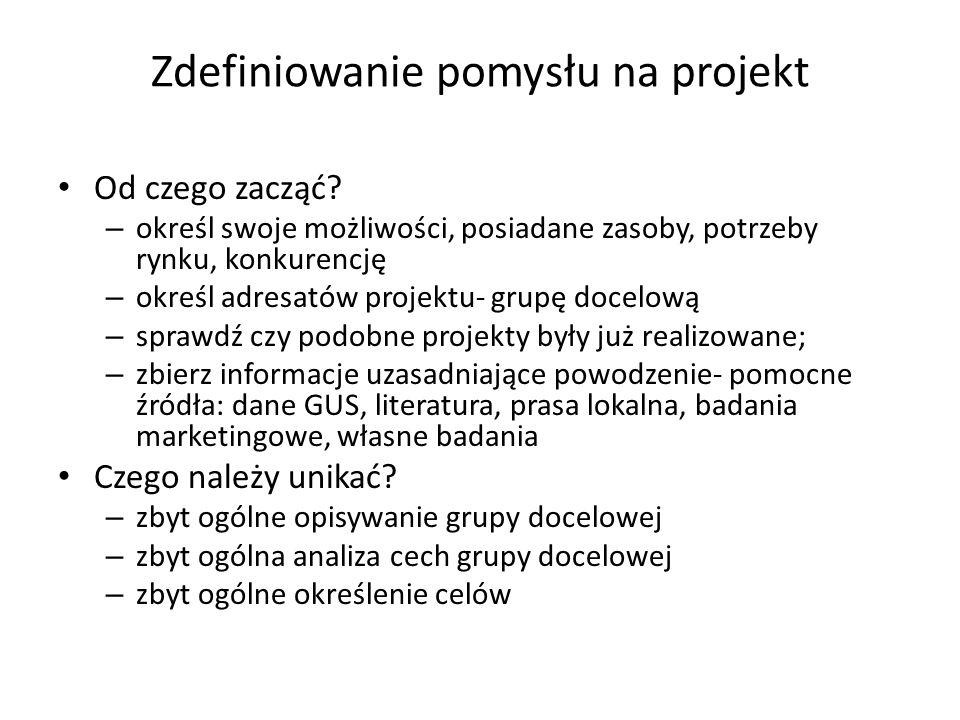 Zdefiniowanie pomysłu na projekt