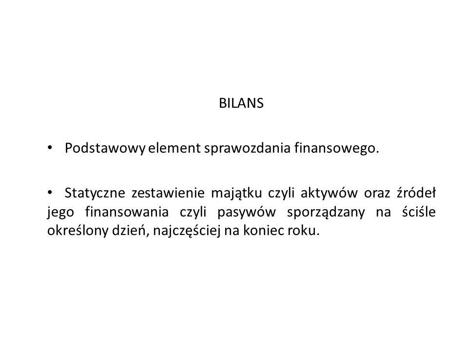 BILANS Podstawowy element sprawozdania finansowego.