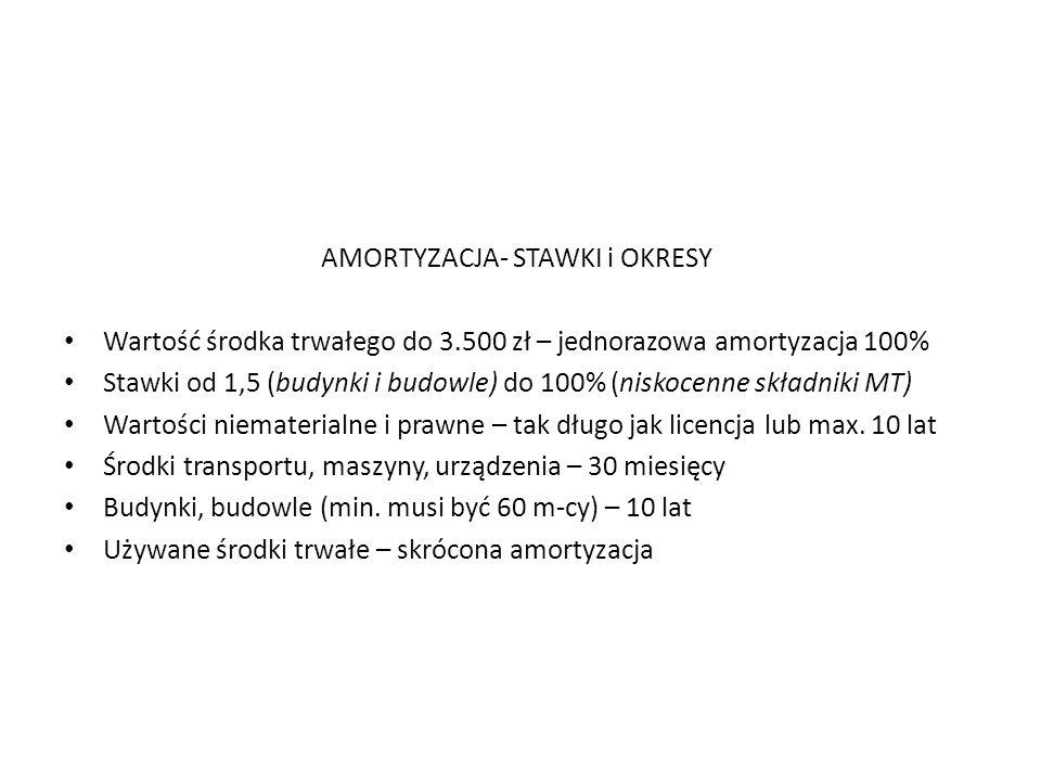 AMORTYZACJA- STAWKI i OKRESY