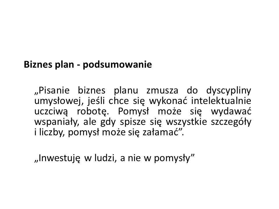 Biznes plan - podsumowanie