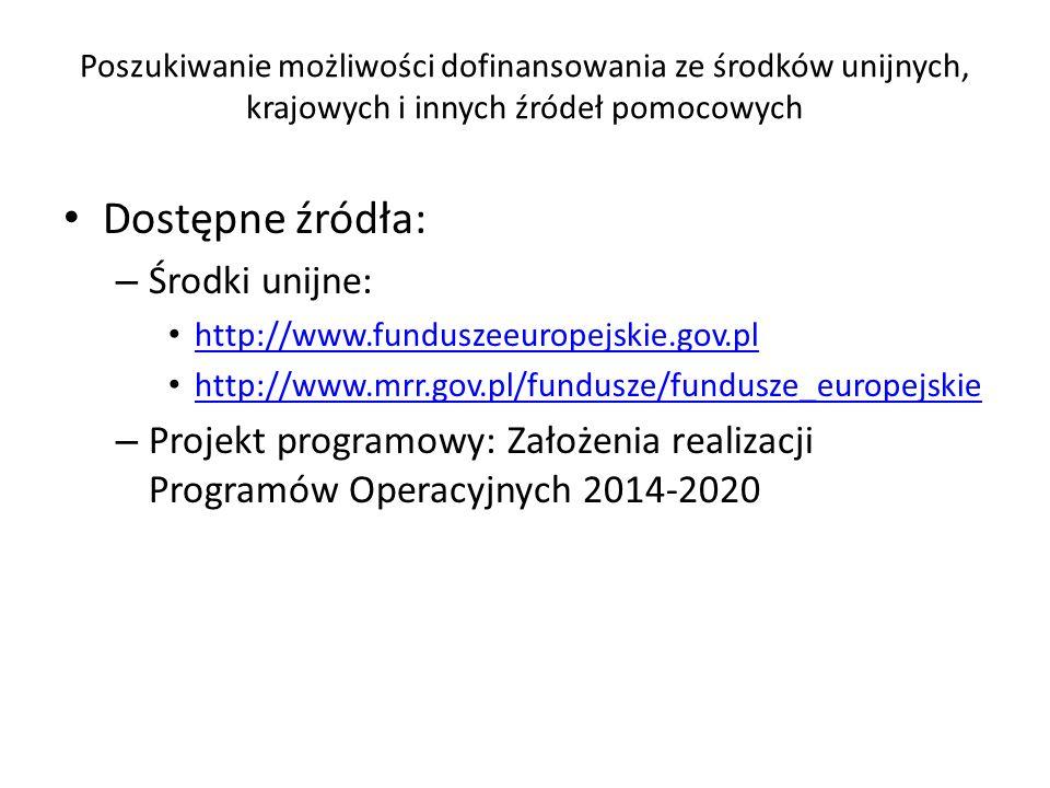 Dostępne źródła: Środki unijne: