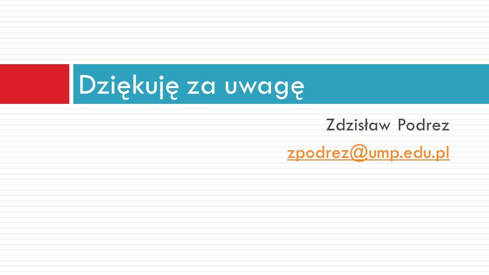 Dziękuję za uwagę Zdzisław Podrez zpodrez@ump.edu.pl