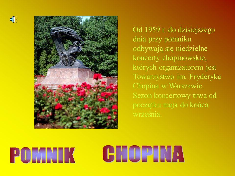 Od 1959 r. do dzisiejszego dnia przy pomniku odbywają się niedzielne koncerty chopinowskie, których organizatorem jest Towarzystwo im. Fryderyka Chopina w Warszawie. Sezon koncertowy trwa od początku maja do końca września.