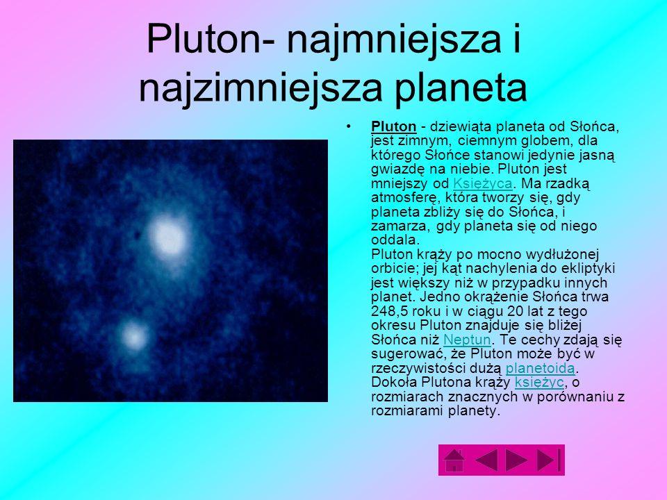 Pluton- najmniejsza i najzimniejsza planeta