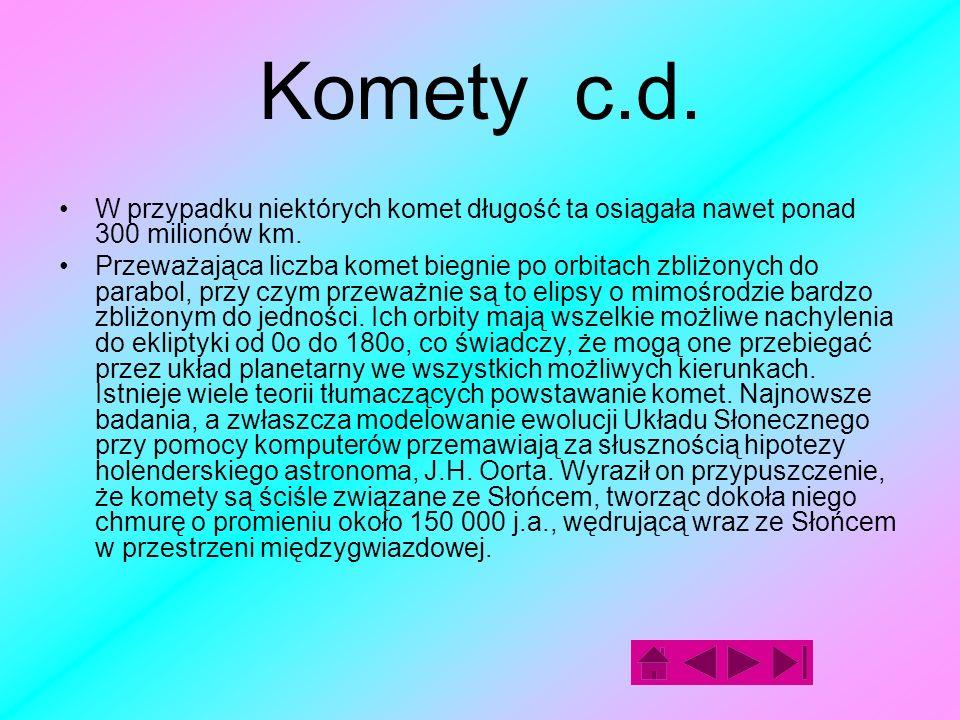 Komety c.d. W przypadku niektórych komet długość ta osiągała nawet ponad 300 milionów km.
