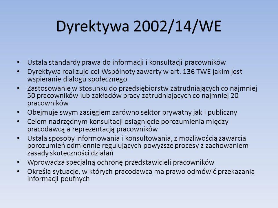 Dyrektywa 2002/14/WE Ustala standardy prawa do informacji i konsultacji pracowników.