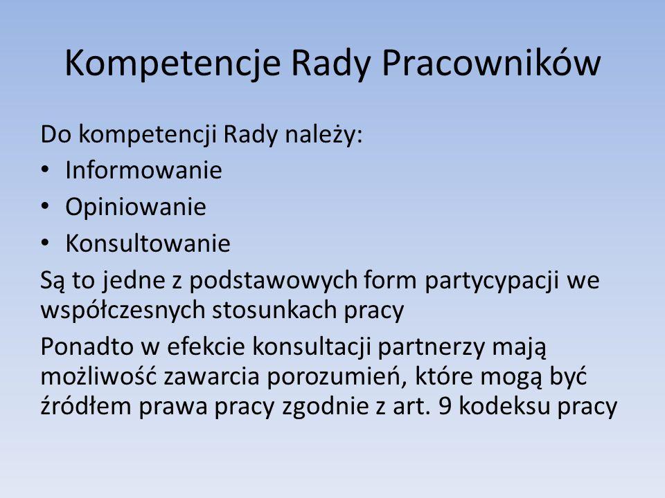 Kompetencje Rady Pracowników