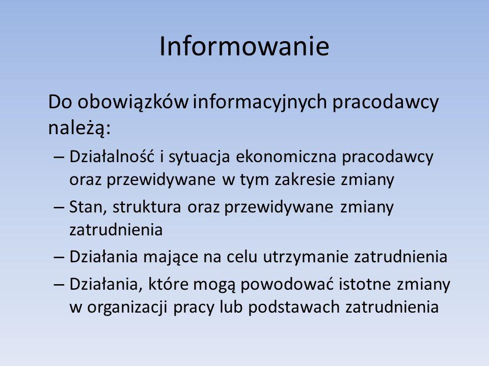 Informowanie Do obowiązków informacyjnych pracodawcy należą: