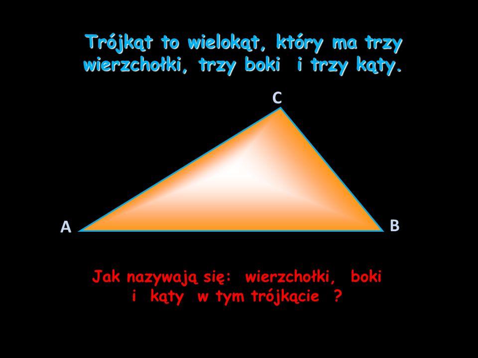 Trójkąt to wielokąt, który ma trzy wierzchołki, trzy boki i trzy kąty.