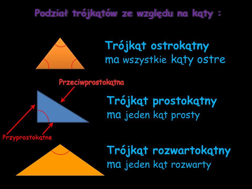 Podział trójkątów ze względu na kąty :