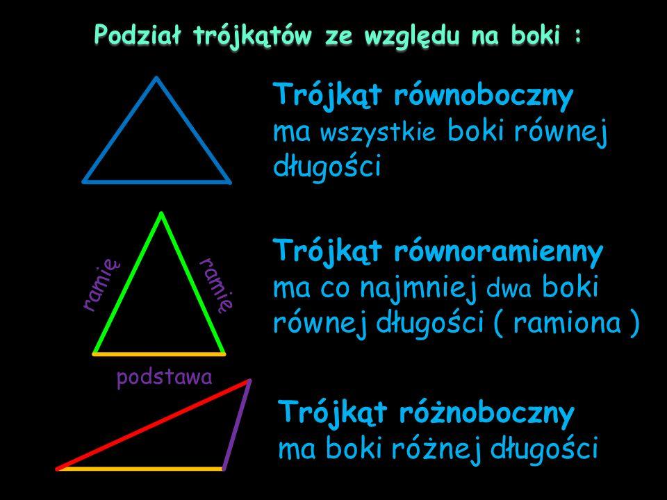Podział trójkątów ze względu na boki :