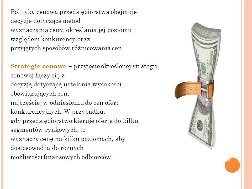 Polityka cenowa przedsiębiorstwa obejmuje decyzje dotyczące metod