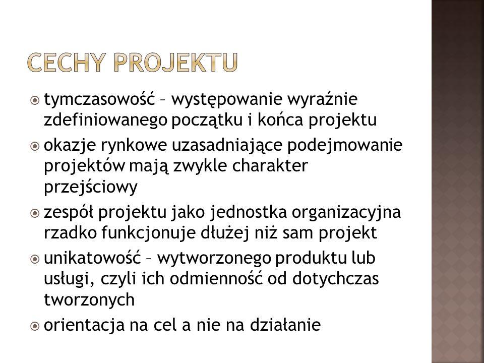 Cechy projektu tymczasowość – występowanie wyraźnie zdefiniowanego początku i końca projektu.