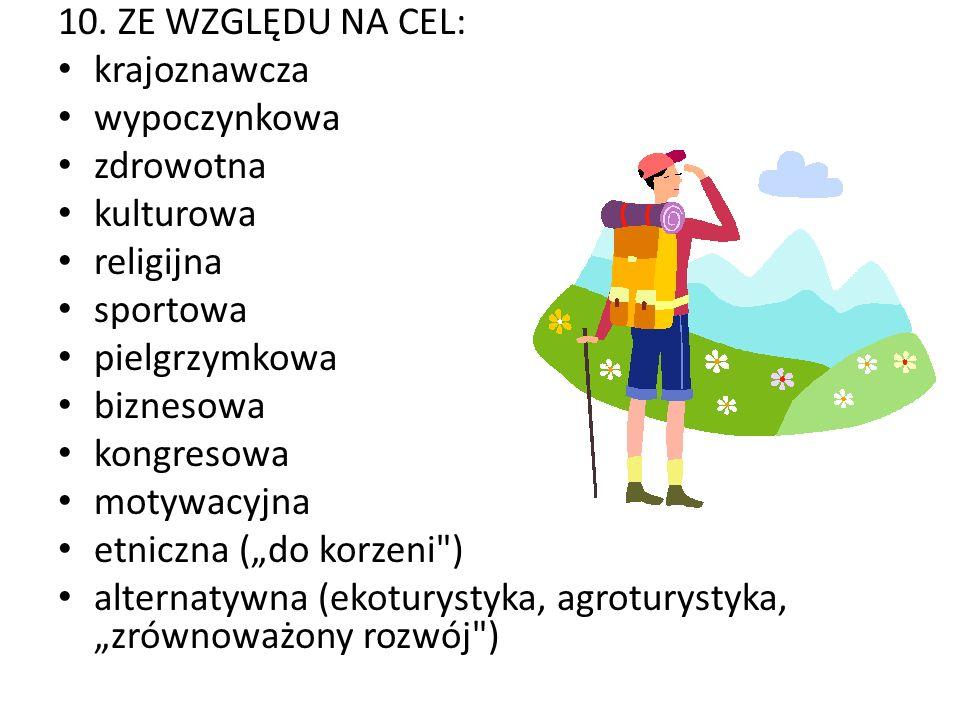 10. ZE WZGLĘDU NA CEL: krajoznawcza. wypoczynkowa. zdrowotna. kulturowa. religijna. sportowa. pielgrzymkowa.