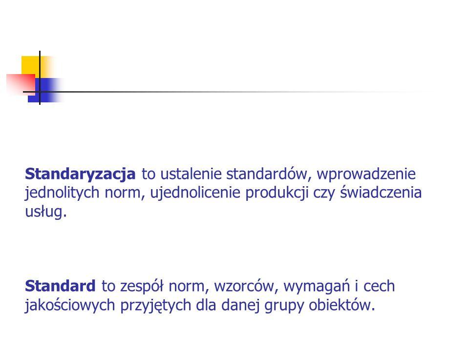 Standaryzacja to ustalenie standardów, wprowadzenie jednolitych norm, ujednolicenie produkcji czy świadczenia usług.