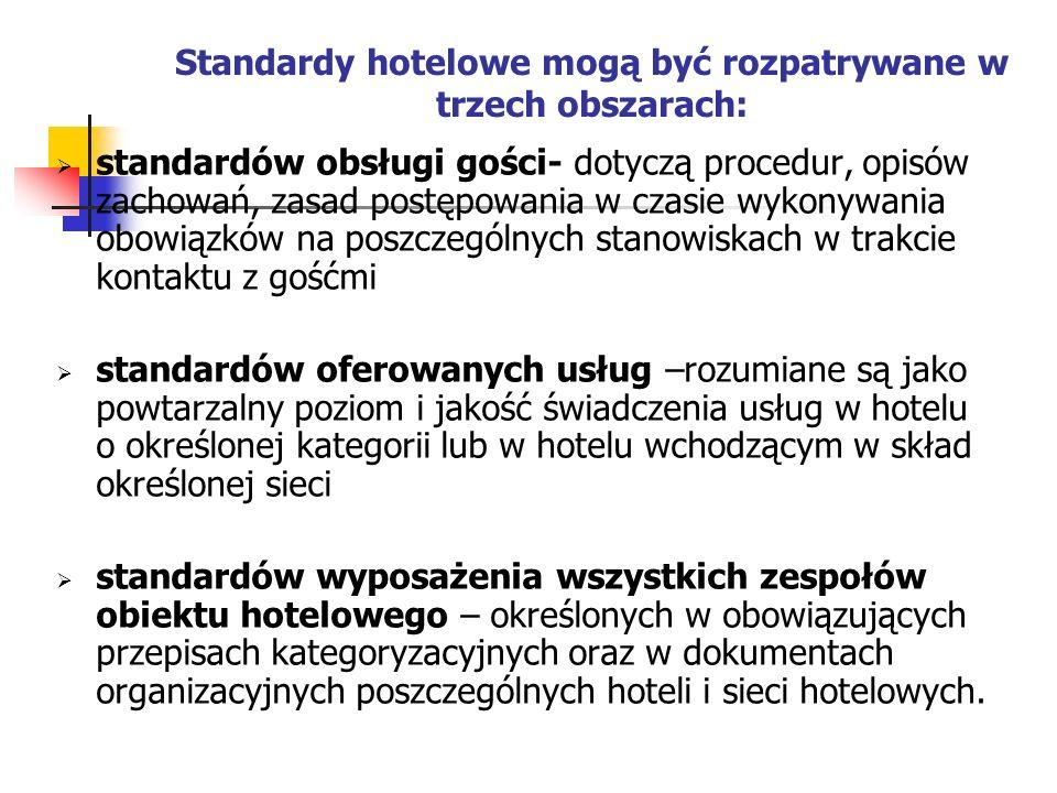 Standardy hotelowe mogą być rozpatrywane w trzech obszarach: