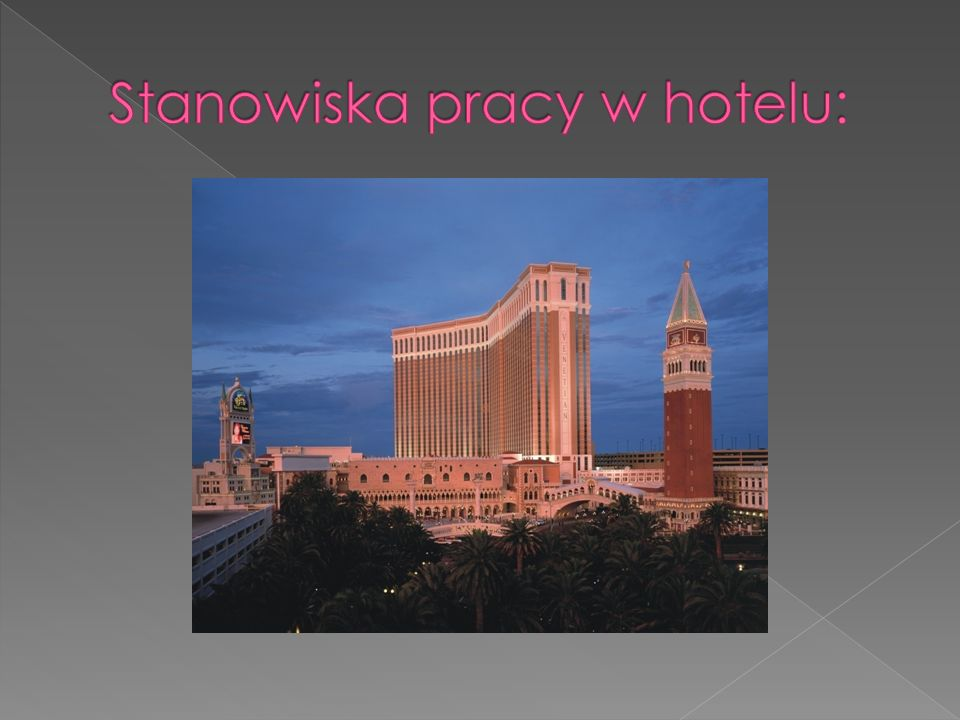 Stanowiska pracy w hotelu: