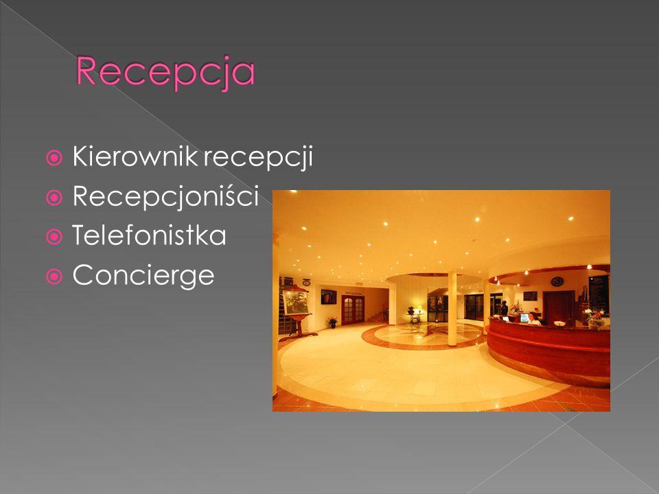 Recepcja Kierownik recepcji Recepcjoniści Telefonistka Concierge