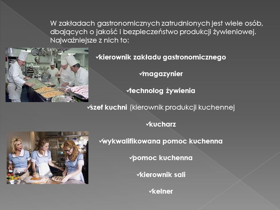 kucharz pomoc kuchenna kierownik sali kelner