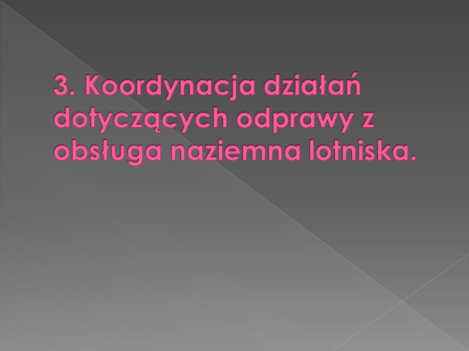3. Koordynacja działań dotyczących odprawy z obsługa naziemna lotniska.