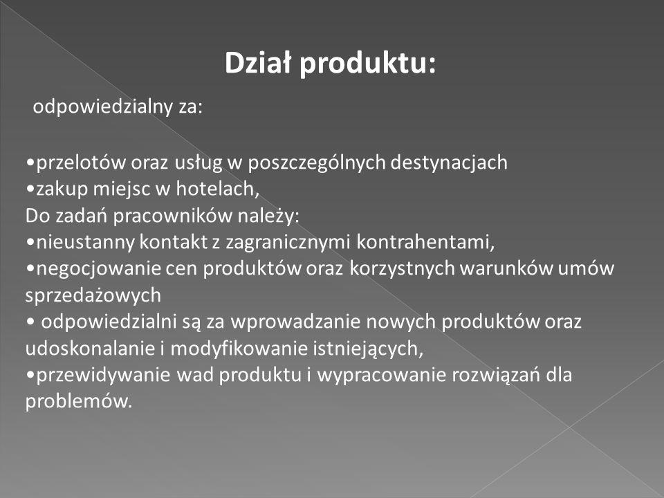 Dział produktu: odpowiedzialny za: