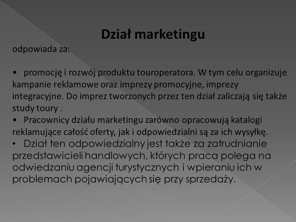 Dział marketingu odpowiada za: