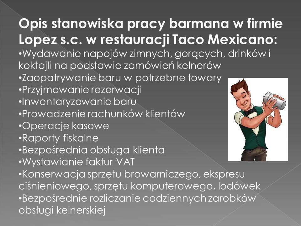 Opis stanowiska pracy barmana w firmie Lopez s. c