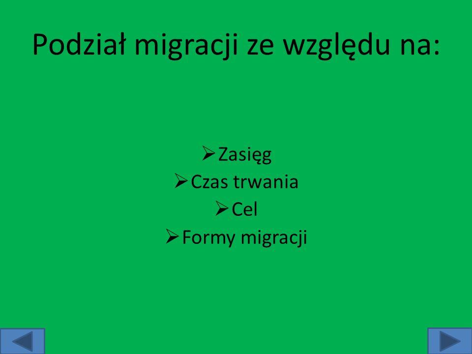 Podział migracji ze względu na: