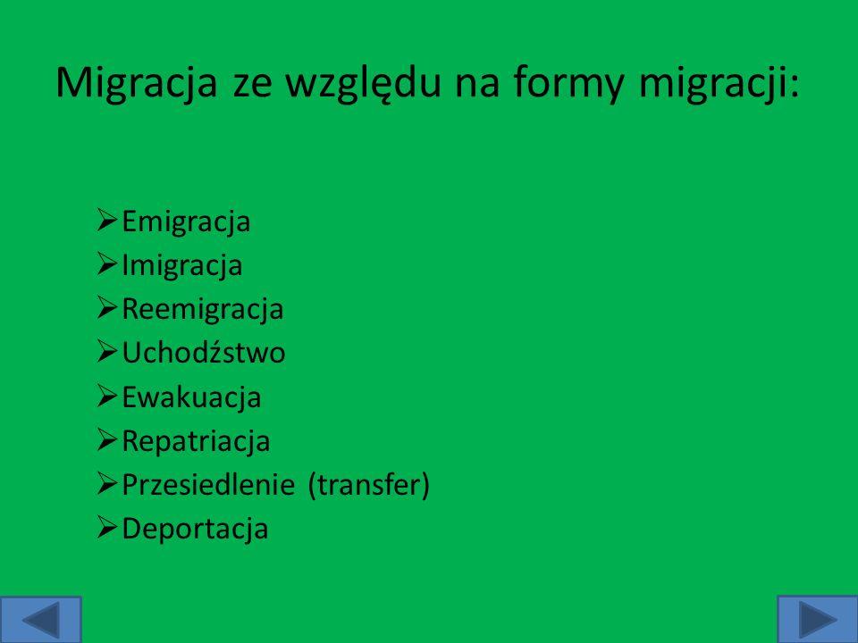 Migracja ze względu na formy migracji: