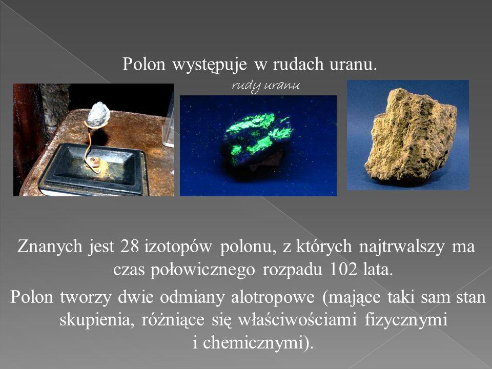 Polon występuje w rudach uranu.