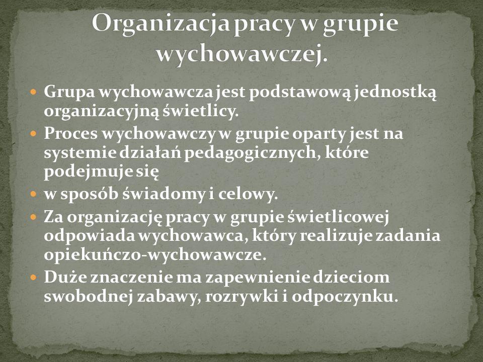Organizacja pracy w grupie wychowawczej.