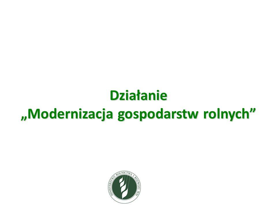 """Działanie """"Modernizacja gospodarstw rolnych"""