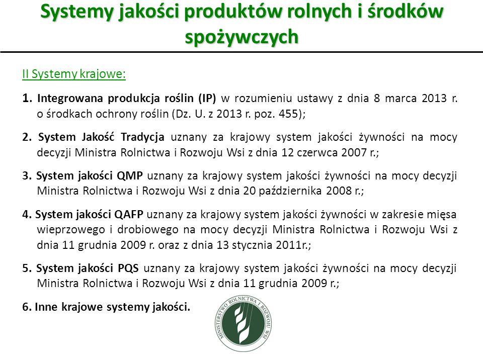 Systemy jakości produktów rolnych i środków spożywczych