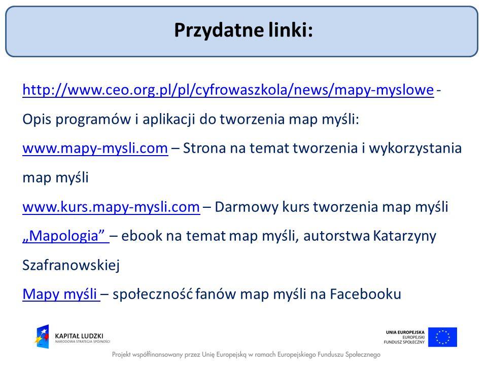 Przydatne linki: http://www.ceo.org.pl/pl/cyfrowaszkola/news/mapy-myslowe - Opis programów i aplikacji do tworzenia map myśli: