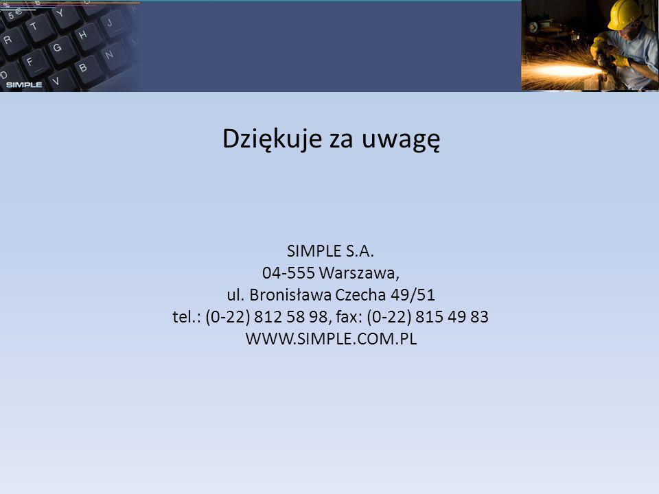 Dziękuje za uwagę SIMPLE S.A. 04-555 Warszawa,