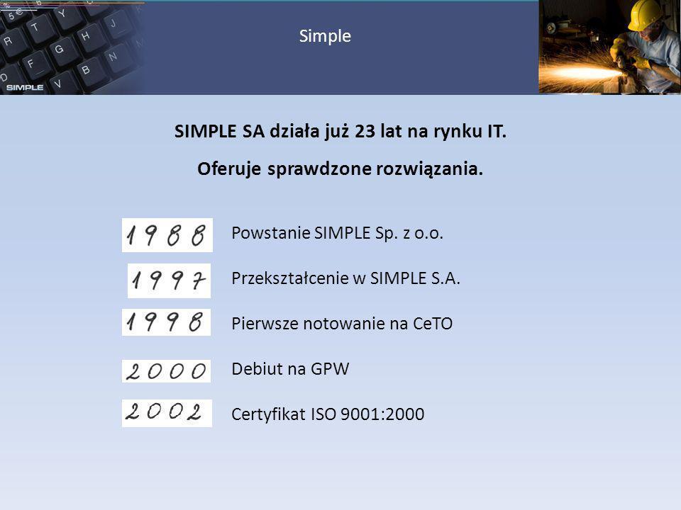SIMPLE SA działa już 23 lat na rynku IT.