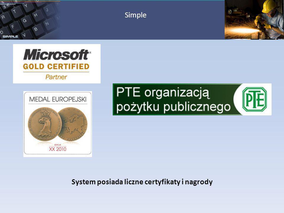 System posiada liczne certyfikaty i nagrody