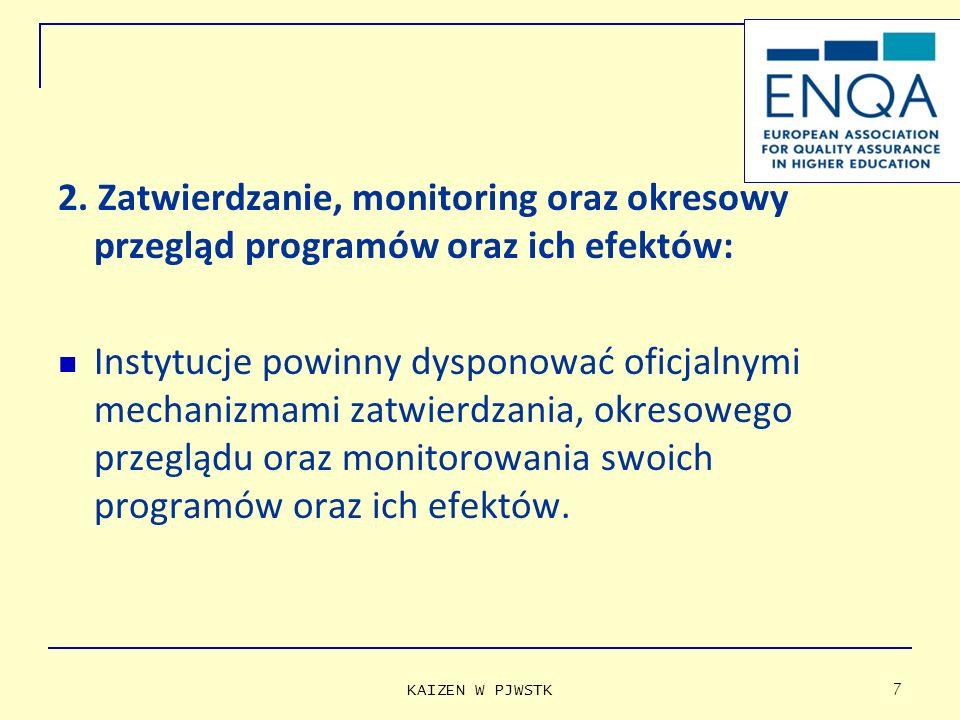2. Zatwierdzanie, monitoring oraz okresowy przegląd programów oraz ich efektów: