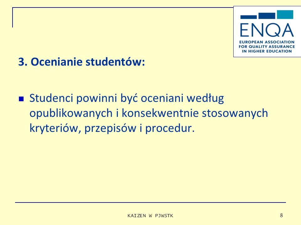 3. Ocenianie studentów: Studenci powinni być oceniani według opublikowanych i konsekwentnie stosowanych kryteriów, przepisów i procedur.